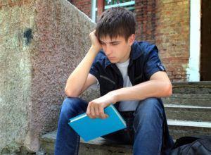 ungdom, gutt, oppgitt, eksamen